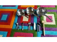 Pots and kitchen utensils bundle