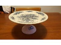 Cake stand - blue & white design - English pottery