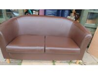 2 seater sofa in brown faux leather