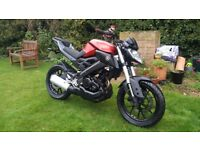 Yamaha MT 125, 12 months Mot, 1 owner, warranty & free delivery