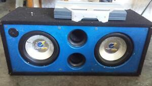 2 10inch Planet Audio subs with box and infinity amp.