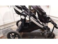 Baby Jogger City Select Double buggy with 2 bassinets, 2 seats and 2 Maxi Cosi car seat adapters