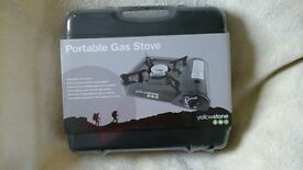 portable camping stove, gas powered, brand new