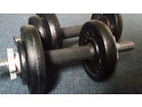 2 YORK Adjustable Dumbells. Total weight 17kg