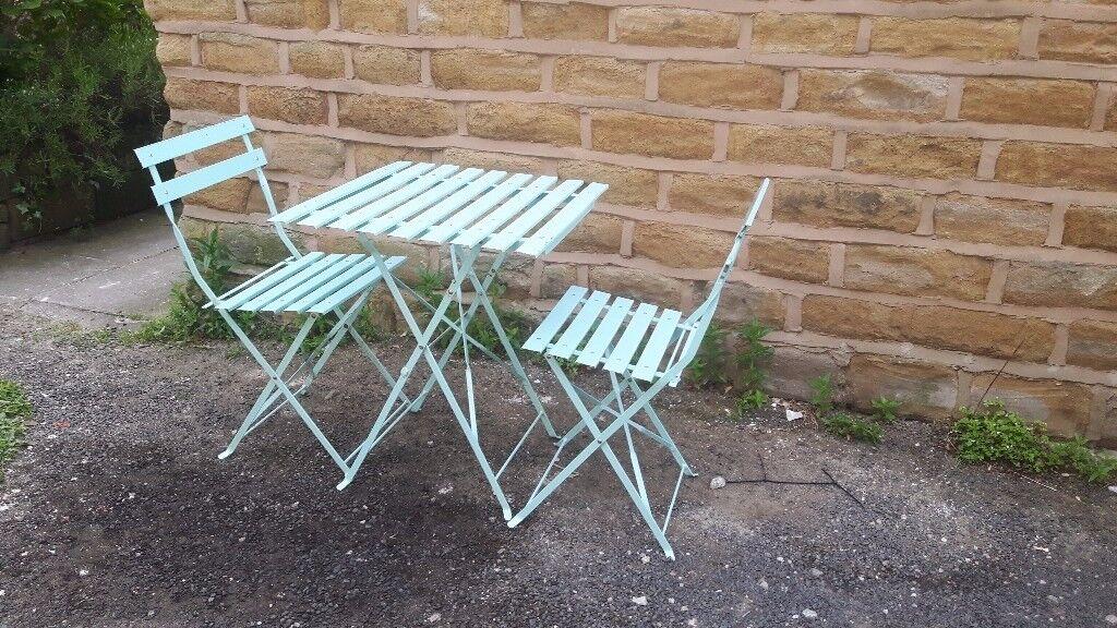 Vintage Antique Style French Folding Metal Garden Set Table