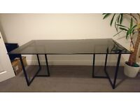 Habitat Contemporary Desk or Dining Table with Trestle Legs Black Glass Top. Great Condition.