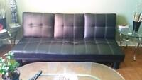 Black Leather Couch For Sale!! 90 $