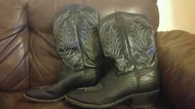 Vintage Tony Lama Black Leather Cowboy Boots