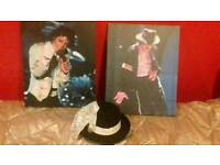 2x canvas with hat n glave