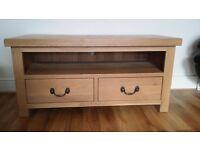 Soild Oak TV unit and matching solid oak lamp table