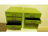 2 green Bisley filling cabinets