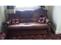 Luxury Brown Leather Sofa - Perfect Condition