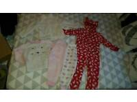 Girls age 4-5 cosy pyjamas onesie bundle winter