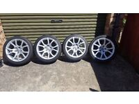 "Genuine OEM SET OF 4 Audi A5 Sport 18"" Alloy Wheels + Tyres"