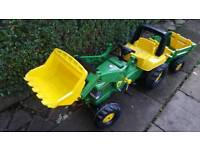 Kids large pedal tractor and trailer