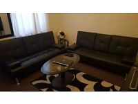 New 3 seater sleeper leather sofa & beds settee in Black x2, Brand New ONLY £295 for both!