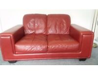 Red leather 2 seater settee and matching armchair