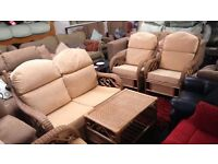 Quality fabric/wicker conservatory suite*CREAM*2 seater plus 2 chairs and table*