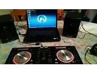 Dj gear, numark controller, laptop dell, speakers m audio, philips earphones.