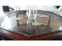 Octagon coffee table with bevelled glass