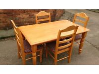 SOLID PINE DINING TABLE + 4 DINING CHAIRS GOOD CONDITION FREE LOCAL DELIVERY