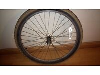 "Alloy QUICK RELEASE 26"" mountain bike front wheel with tyre and tube"