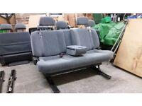 3 Seat Sliding Camper Van Triple Bench w/ Cubby Box Armrest Belts Bed VW T4 T5 Transit