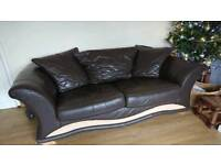 Large 3 seater sofa dark brown leather
