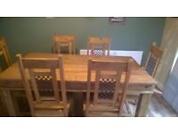 Large Wooden Dining Table X6 Chairs