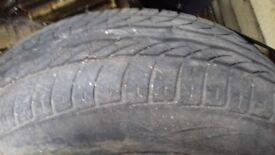 Car tyres 2 space savers 1 steel wheel