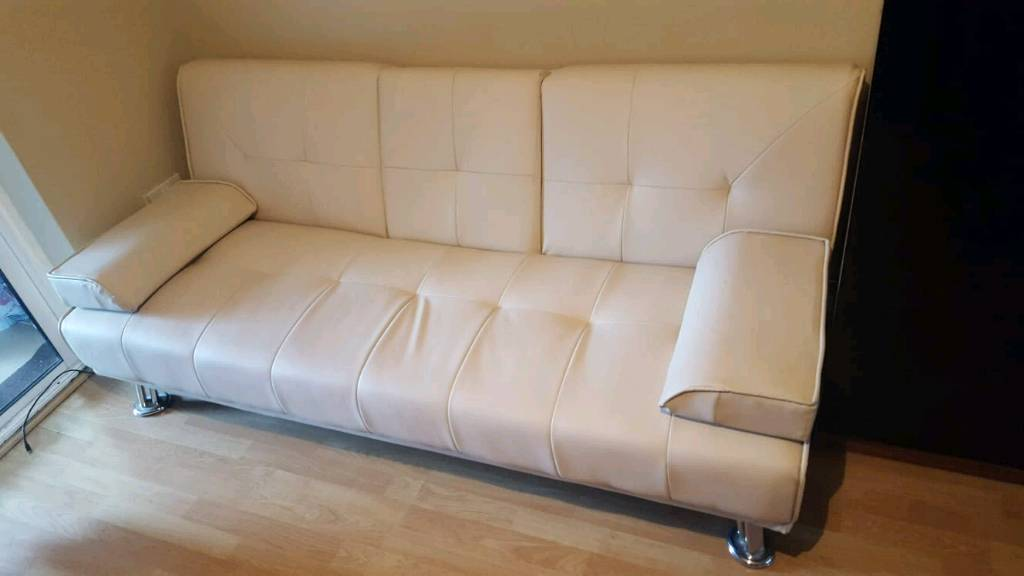 Large Faux Leather 3 Seater Sofa Bed Futon With Fold Down Table