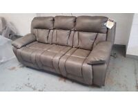NEW GREY LEATHER 3 SEATER POWER RECLINER & 1 POWER RECLINER & 1 ROCKER MANUAL RECLINER ARMCHAIRS