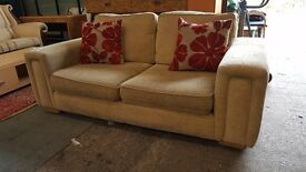 Modern beige 2 seater fabric sofa set
