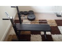 Weight Bench with Bars and Weight plates