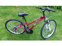 "Girls 24"" Apollo Entice bike, 12"" frame, 18 gears"