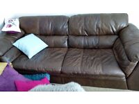 Real leather sofa & 2 chairs