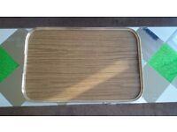 3 large reusable servings trays - wood effect