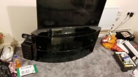 Large black glass TV stand very elegant