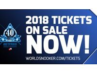 World Snooker Championship tickets 2018 *Semi Final/Final **Great seats**