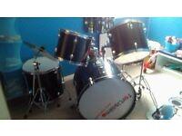 5 Piece Black Drum Kit For Sale.