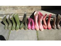 Job Lot of 8 pairs Wellingtons Mixed Size & Colour Bargain