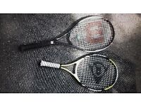 Two tennis rackets - Wilson and Dunlop