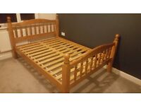 Solid wood double bed with free mattress