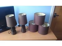 Set of bedside lamps and ceiling lights