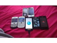 Iphone 4, 2 blackberrys, samsung ace, lg, mottorla and a hauwei