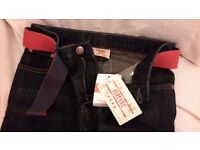 Brand New with tags 7/8 years girl belted jean