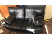 2 and 3 seater black leather sofa