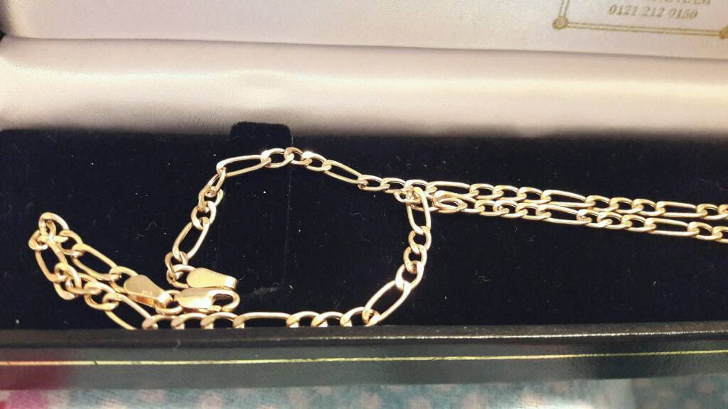 9CT GOLD FIGARO CHAIN £79