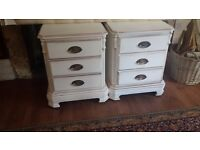 2 bedside drawers shabby chic old cream chalk paint dolid pine