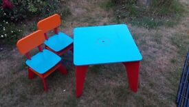 Early Learning Wooden Table and 2 Chairs